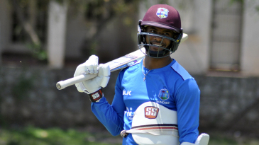 Shai Hope, all padded up at a practice session