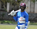 Shai Hope, all padded up at a practice session, Bulawayo, October 13, 2017