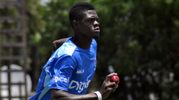 Alzarri Joseph runs in to bowl