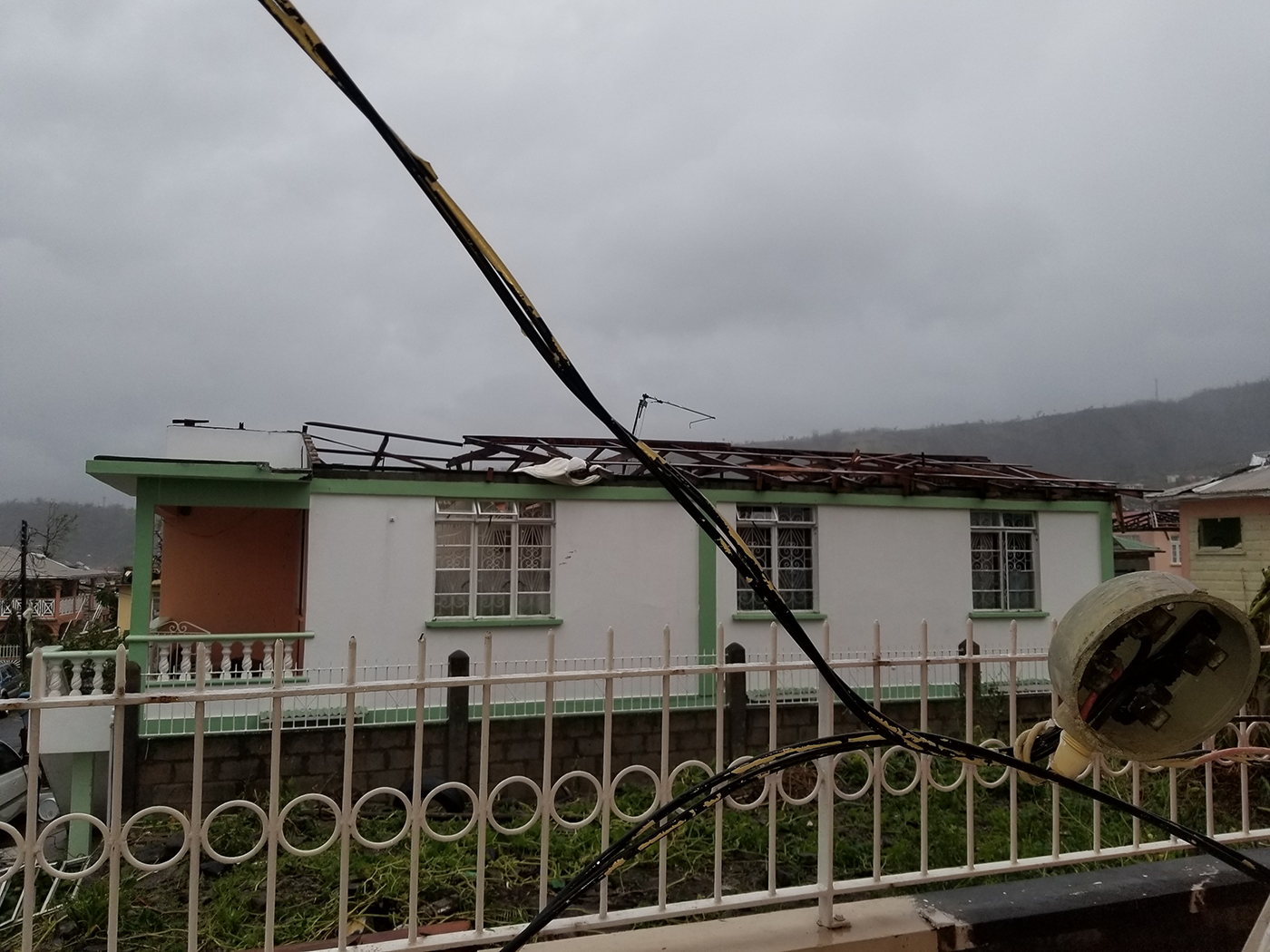 The roof was ripped off Liam Sebastien's home in Goodwill, Dominica by Hurricane Maria