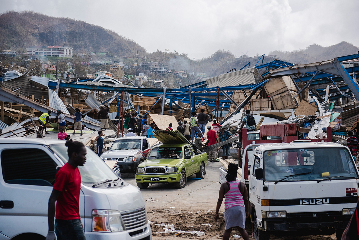 Four days later: torn roofs and destroyed houses in Dominica
