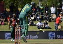 Hashim Amla jumps and pats one down, South Africa v Bangladesh, 2nd ODI, Paarl, October 18, 2017