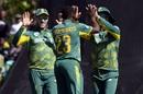 Andile Phehlukwayo celebrates a wicket, South Africa v Bangladesh, 2nd ODI, Paarl, October 18, 2017