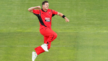 Daniel Worrall is elated after dismissing Aaron Finch for a duck