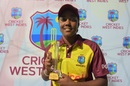 Hayley Matthews poses with the Player-of-the-Match trophy, West Indies Women v Sri Lanka Women, 1st T20I, Antigua, October 19, 2017