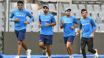 Jasprit Bumrah, Bhuvneshwar Kumar, Kuldeep Yadav and Yuzvendra Chahal jog during practice
