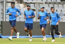 India bowlers - Jasprit Bumrah, Bhuvneshwar Kumar, Kuldeep Yadav and Yuzvendra Chahal - jog during practice, Mumbai, October 20, 2017