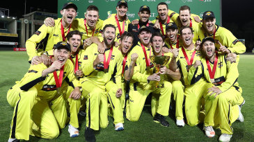 The victorious Western Australia team with the trophy