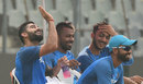Virat Kohli enjoys a light moment with team-mates, Mumbai, October 21, 2017