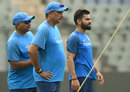 Virat Kohli with coach Ravi Shastri and bowling coach Bharat Arun, Mumbai, October 21, 2017