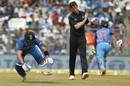 Virat Kohli loses his bat after completing a run, India v New Zealand, 1st ODI, Mumbai, October 22, 2017