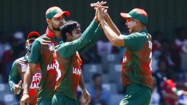 Mehidy Hasan celebrates a wicket