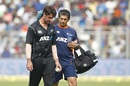 Colin de Grandhomme had to endure a spell of vomiting as he suffered in the heat , India v New Zealand, 1st ODI, Mumbai, October 22, 2017