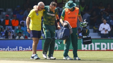 Faf du Plessis retired hurt on 91
