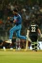 Kuldeep Yadav was overjoyed after deceiving Kane Williamson in the air, India v New Zealand, 1st ODI, Mumbai, October 22, 2017
