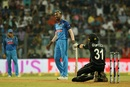 Hardik Pandya toppled Martin Guptill, India v New Zealand, 1st ODI, Mumbai, October 22, 2017