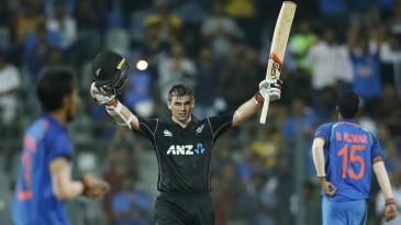 Tom Latham struck his maiden ODI hundred in Asia