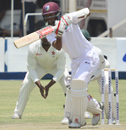 Kraigg Brathwaite guides one into the off side , Zimbabwe v West Indies, 1st Test, Bulawayo, 3rd day, October 23, 2017