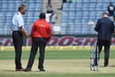 Match Referee Chris Broad inspects the pitch ahead of the 2nd ODI, India v New Zealand, 2nd ODI, Pune, October 25, 2017
