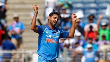 Bhuvneshwar Kumar celebrates a wicket