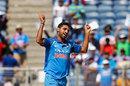 Bhuvneshwar Kumar celebrates a wicket, India v New Zealand, 2nd ODI, Pune, 25 October, 2017