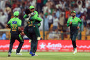 Faheem Ashraf celebrates his hat-trick with Sarfraz Ahmed, Pakistan v Sri Lanka, 2nd T20I, Abu Dhabi, October 27, 2017