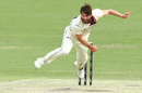 Michael Neser in his follow through, Queensland v Victoria, Day 3, Sheffield Shield, Brisbane, October 28, 2017