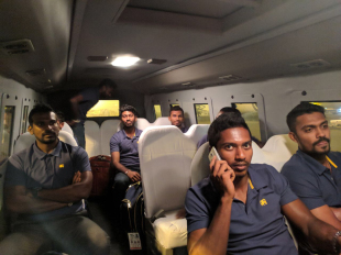 Sri Lanka's cricketers were driven to the team hotel in a bomb-proof bus