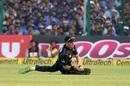 Mitchell Santner slides around, India v New Zealand, 3rd ODI, Kanpur, October 29, 2017