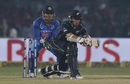 Tom Latham prepares to reverse sweep off the back of the bat, India v New Zealand, 3rd ODI, Kanpur, October 29, 2017