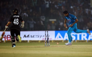 If there are stumps around, Jasprit Bumrah will hit them