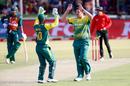 Robbie Frylinck celebrates the wicket of Mushfiqur Rahim, South Africa v Bangladesh, 2nd T20I, Potchefstroom, October 29, 2017