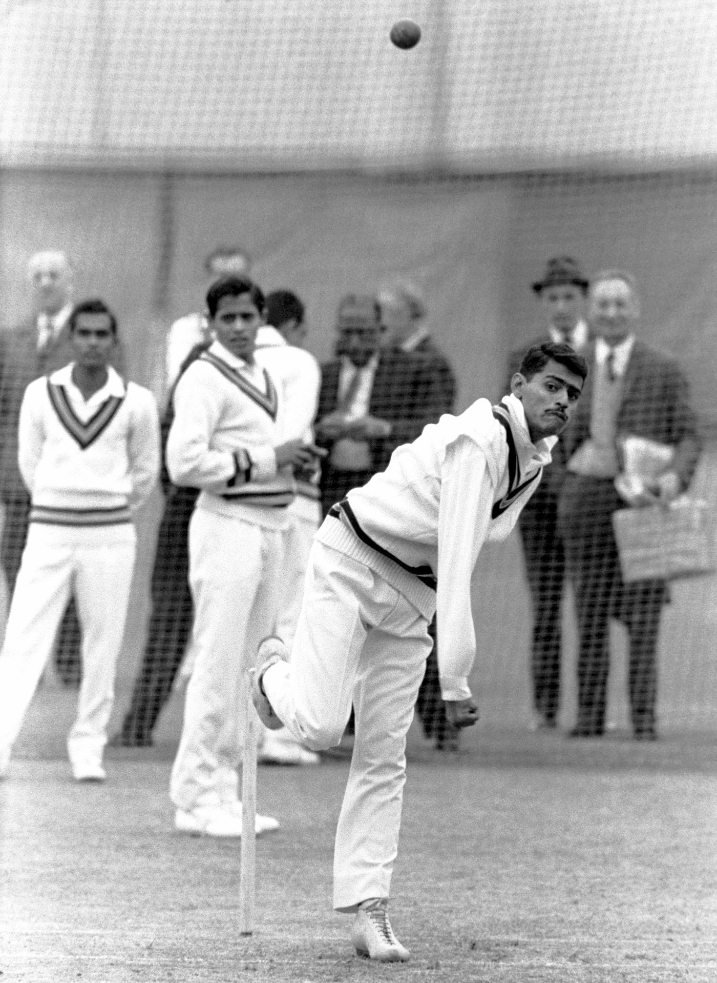 Chandra bowls in the nets in England in 1967