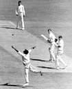 Bob Cowper edges a ball from Bhagwath Chandrasekhar over Chandu Borde's head, Victoria v Indians, 1st day, Melbourne, December 8, 1967