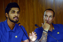 Dinesh Chandimal talks to the press as Nic Pothas looks on, Colombo, October 31, 2017