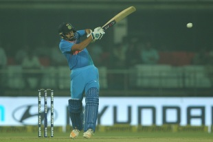 Rohit Sharma swats one away to the leg side