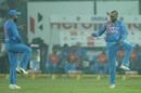 Virat Kohli and Shikhar Dhawan celebrate a wicket, India v New Zealand, 1st T20I, Delhi, November 1, 2017