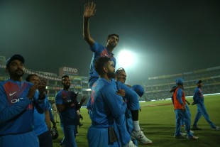 Ashish Nehra is hoisted after his final international game