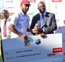 Devendra Bishoo was adjudged Player of the Series for his 13 wickets in two games, Zimbabwe v West Indies, Bulawayo, Day 4, November 2, 2017