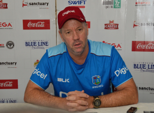West Indies coach Stuart Law addresses the press conference