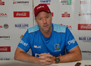 West Indies coach Stuart Law addresses the press conference, Zimbabwe v West Indies, Bulawayo, Day 4, November 2, 2017