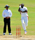 Gavin Tonge, observed by umpire Danesh Ramdhanie here, took nine wickets in the game, Barbados v Leeward Islands, Regional Four-Day Tournament, Bridgetown, 2nd day, November 2, 2017