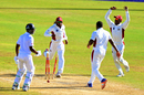 Leeward Islands' players celebrate as Sheyne Moseley is run out, Barbados v Leeward Islands, Regional Four-Day Tournament, Bridgetown, 2nd day, November 2, 2017