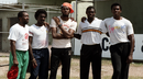 Malcolm Marshall, Ezra Moseley, Courtney Walsh, Patrick Patterson and Ian Bishop pose for a photo, Kingston, February 24, 1990