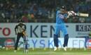 Shreyas Iyer gets off his feet to slap through the off side, India v New Zealand, 2nd T20I, Rajkot, November 4, 2017