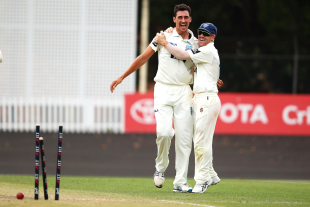 Mitchell Starc after yorking Simon Mackin en route to completing his hat-trick