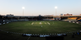 Floodlights come on during the Quaid-e-Azam Trophy final