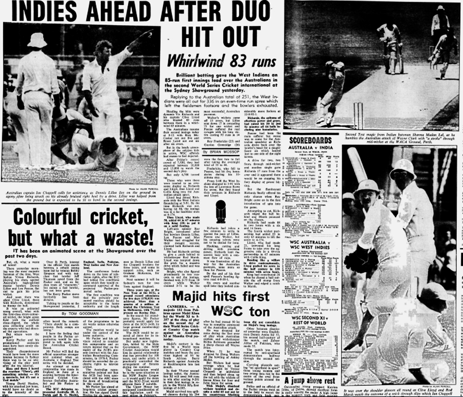 December 18, 1977: the final day of the second Supertest, which WSC West Indies won by nine wickets; and Majid Khan's hundred in the Country Cup in Canberra