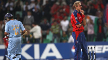 Stuart Broad after being hit for a six by Yuvraj Singh