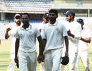 Lukman Meriwala (left) and Atit Sheth are applauded off the field after their five-fors, Mumbai v Baroda, Ranji Trophy 2017-18, Group C, 1st day, Mumbai, November 9, 2017